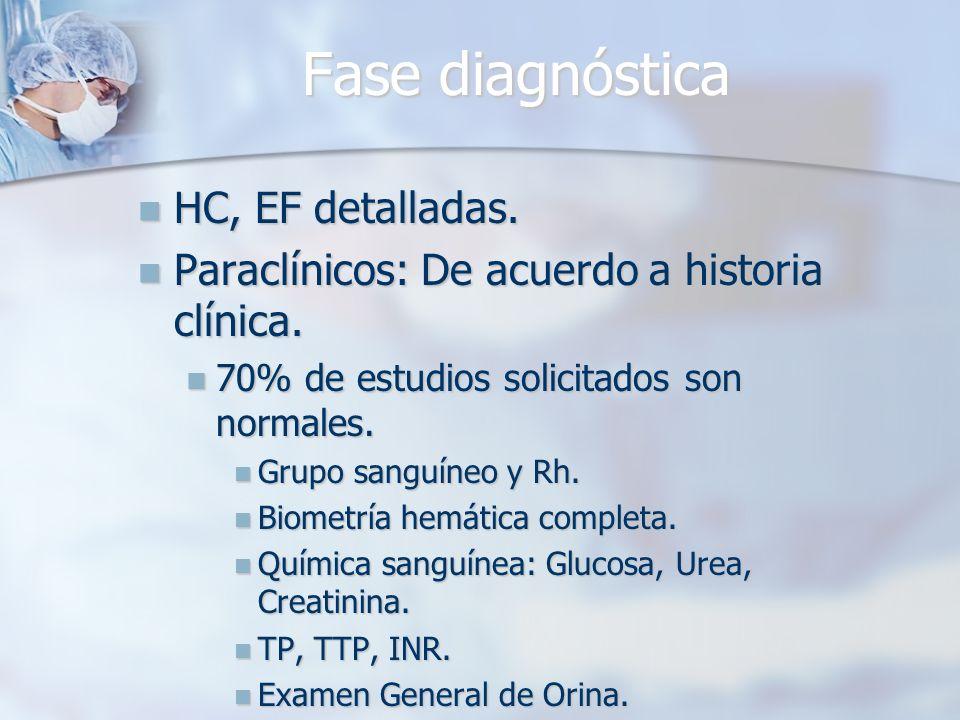 Fase diagnóstica HC, EF detalladas.
