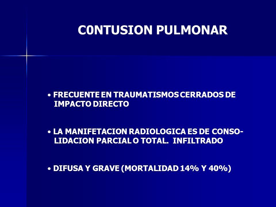 C0NTUSION PULMONAR FRECUENTE EN TRAUMATISMOS CERRADOS DE