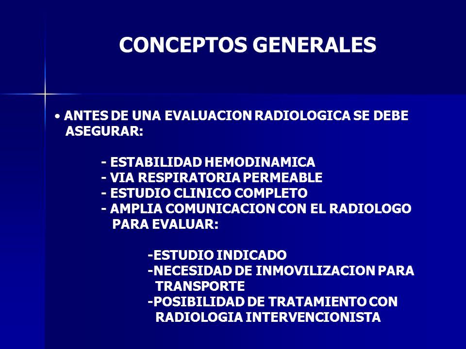 CONCEPTOS GENERALES ANTES DE UNA EVALUACION RADIOLOGICA SE DEBE