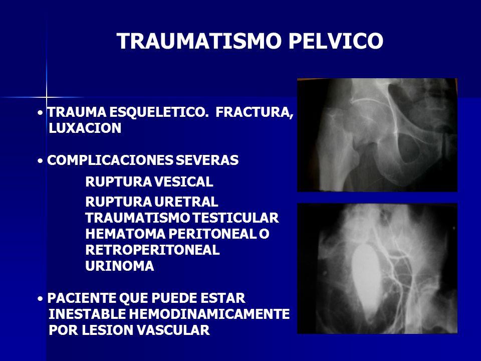 TRAUMATISMO PELVICO TRAUMA ESQUELETICO. FRACTURA, LUXACION