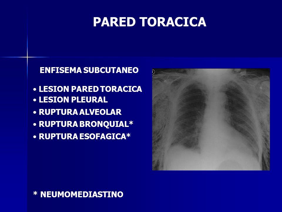 PARED TORACICA ENFISEMA SUBCUTANEO LESION PARED TORACICA