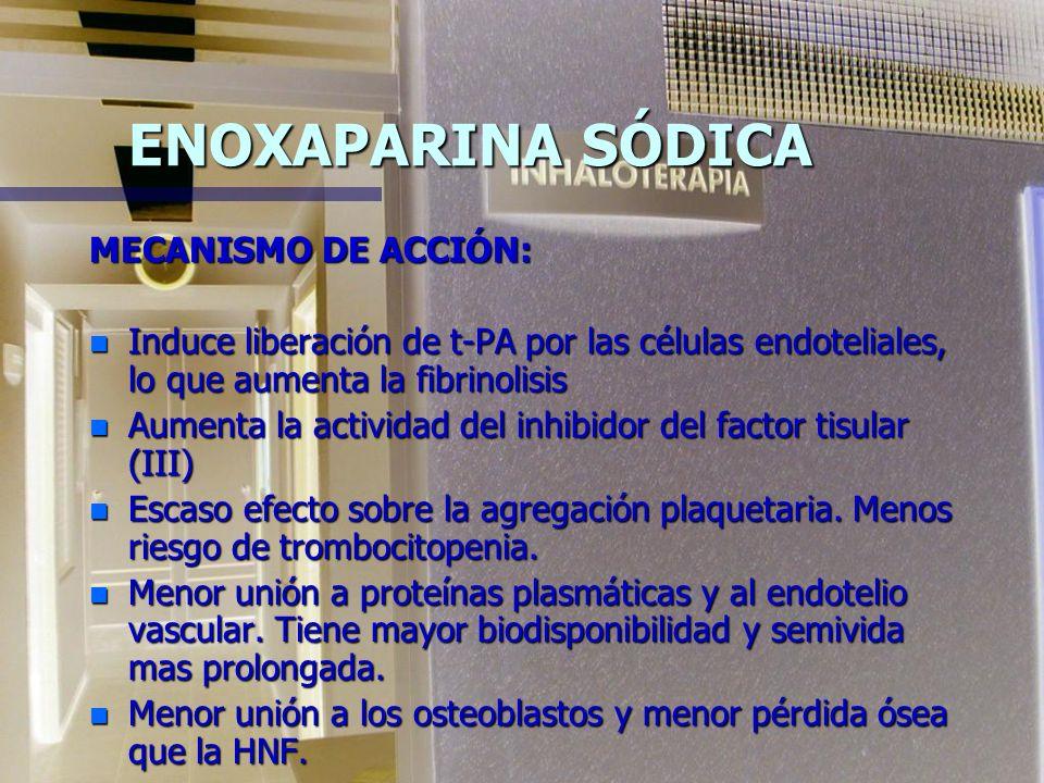 ENOXAPARINA SÓDICA MECANISMO DE ACCIÓN: