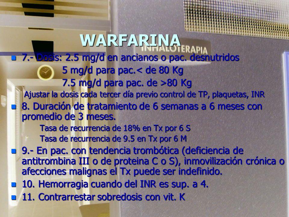 WARFARINA 7.- Dosis: 2.5 mg/d en ancianos o pac. desnutridos