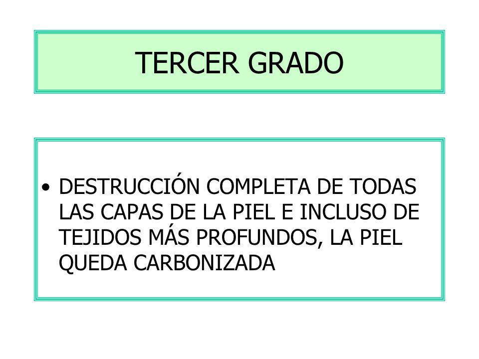 TERCER GRADO DESTRUCCIÓN COMPLETA DE TODAS LAS CAPAS DE LA PIEL E INCLUSO DE TEJIDOS MÁS PROFUNDOS, LA PIEL QUEDA CARBONIZADA.