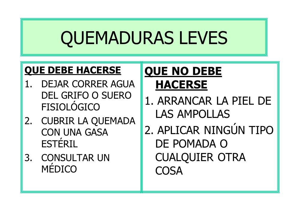 QUEMADURAS LEVES QUE NO DEBE HACERSE