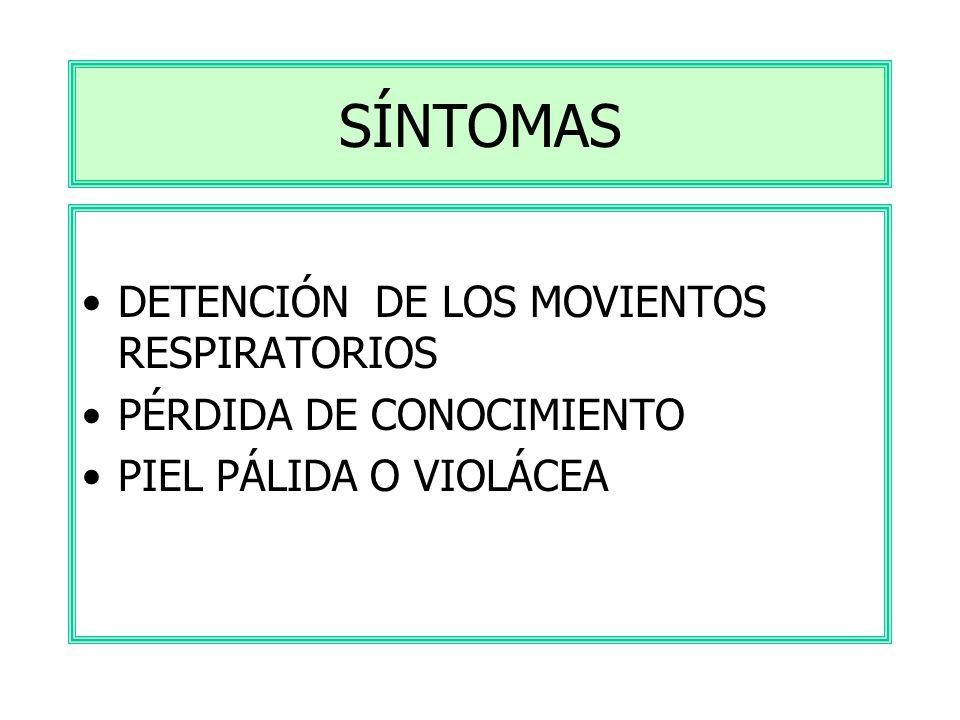 SÍNTOMAS DETENCIÓN DE LOS MOVIENTOS RESPIRATORIOS