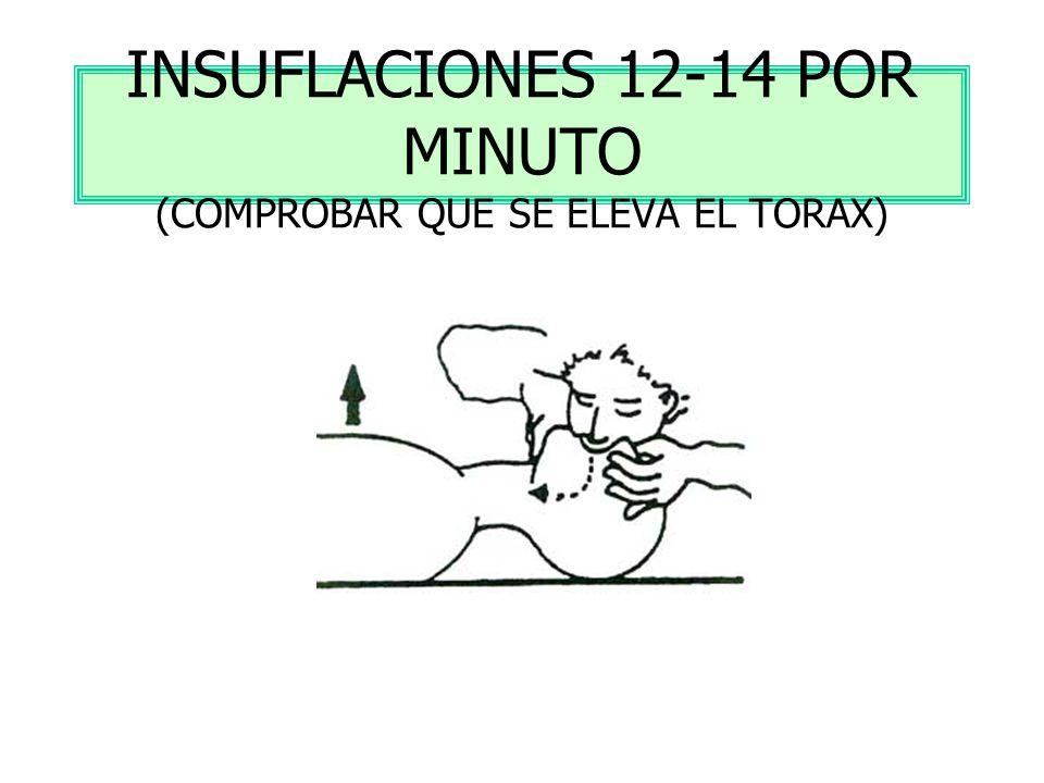 INSUFLACIONES 12-14 POR MINUTO (COMPROBAR QUE SE ELEVA EL TORAX)