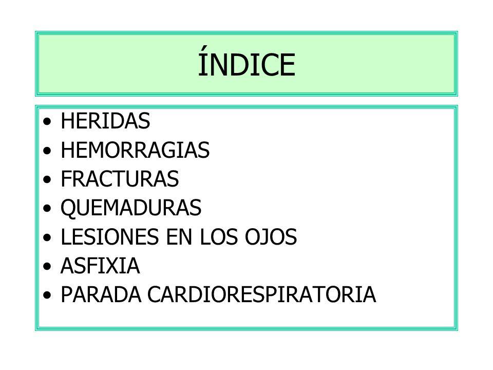 ÍNDICE HERIDAS HEMORRAGIAS FRACTURAS QUEMADURAS LESIONES EN LOS OJOS