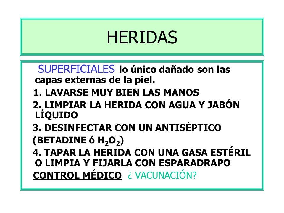HERIDAS SUPERFICIALES lo único dañado son las capas externas de la piel. 1. LAVARSE MUY BIEN LAS MANOS.