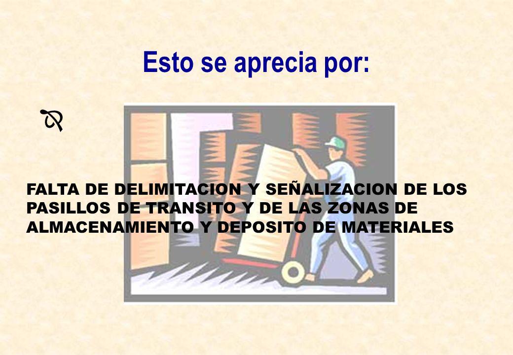Esto se aprecia por: FALTA DE DELIMITACION Y SEÑALIZACION DE LOS PASILLOS DE TRANSITO Y DE LAS ZONAS DE ALMACENAMIENTO Y DEPOSITO DE MATERIALES.