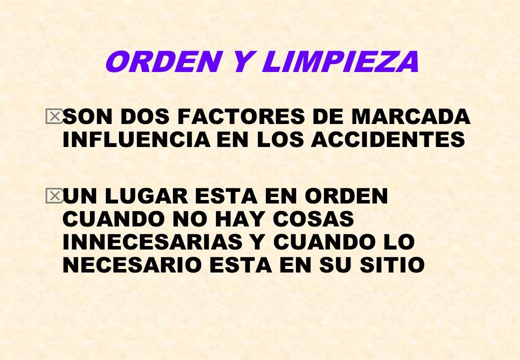 ORDEN Y LIMPIEZASON DOS FACTORES DE MARCADA INFLUENCIA EN LOS ACCIDENTES.