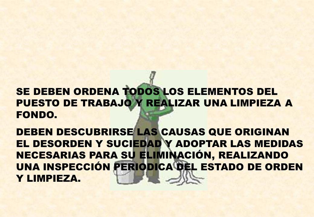 SE DEBEN ORDENA TODOS LOS ELEMENTOS DEL PUESTO DE TRABAJO Y REALIZAR UNA LIMPIEZA A FONDO.