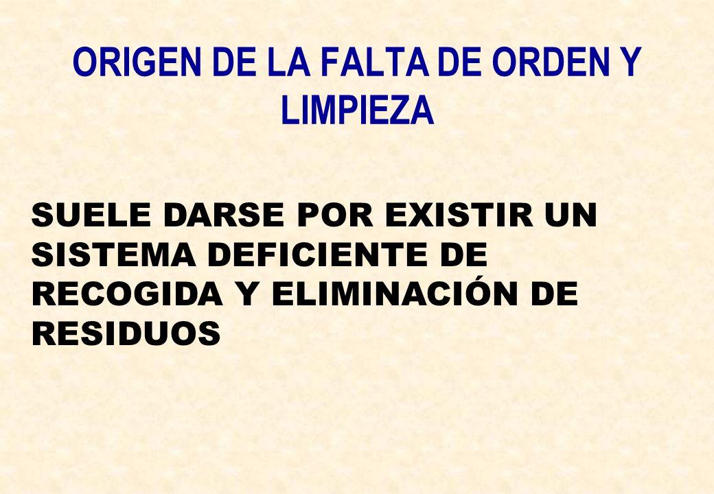 ORIGEN DE LA FALTA DE ORDEN Y LIMPIEZA