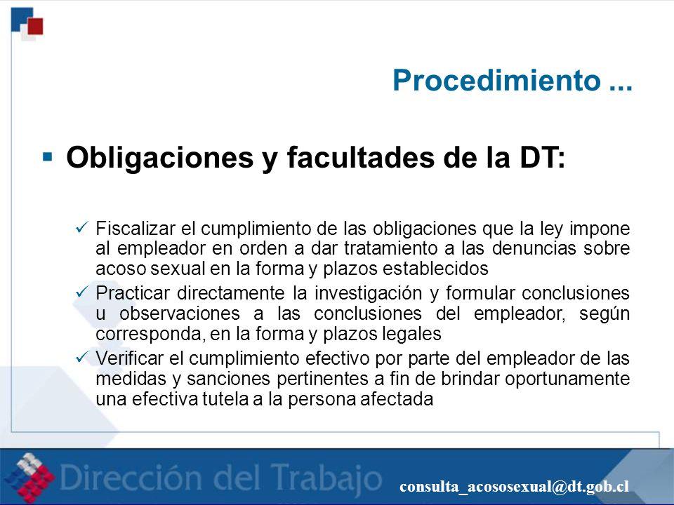 Obligaciones y facultades de la DT: