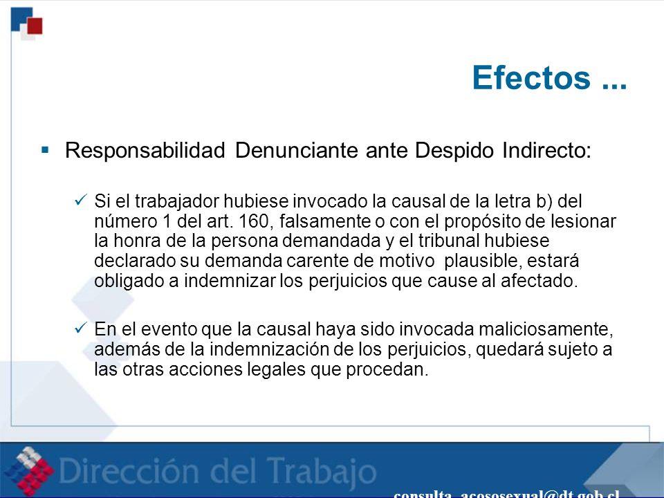 Efectos ... Responsabilidad Denunciante ante Despido Indirecto: