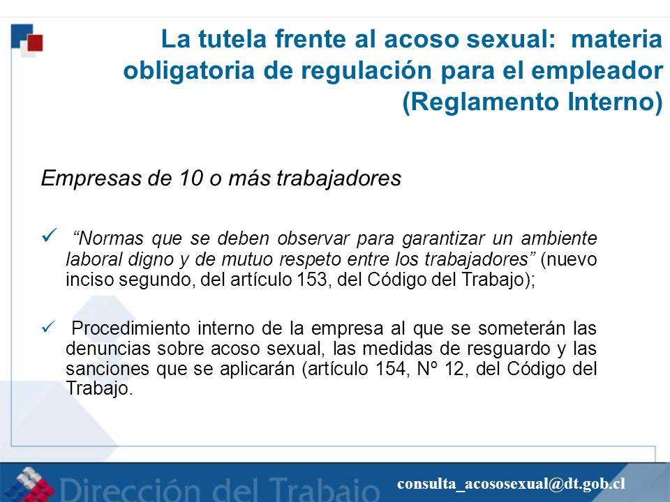 La tutela frente al acoso sexual: materia obligatoria de regulación para el empleador (Reglamento Interno)