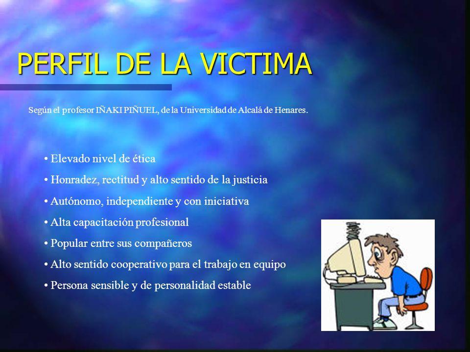 PERFIL DE LA VICTIMA Elevado nivel de ética