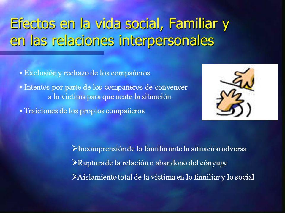 Efectos en la vida social, Familiar y en las relaciones interpersonales