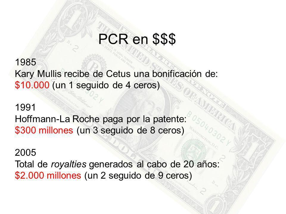PCR en $$$ 1985 Kary Mullis recibe de Cetus una bonificación de: