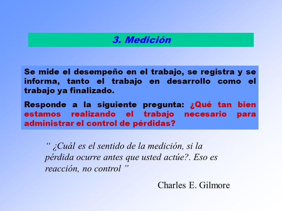 3. MediciónSe mide el desempeño en el trabajo, se registra y se informa, tanto el trabajo en desarrollo como el trabajo ya finalizado.