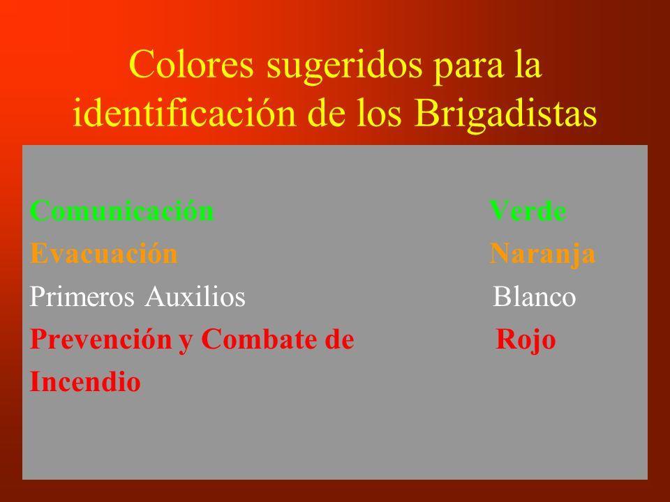 Colores sugeridos para la identificación de los Brigadistas