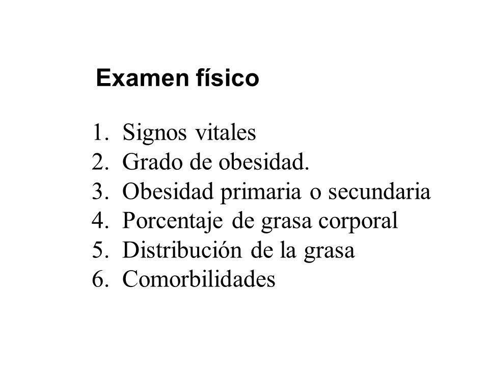 Examen físico Signos vitales. Grado de obesidad. Obesidad primaria o secundaria. Porcentaje de grasa corporal.
