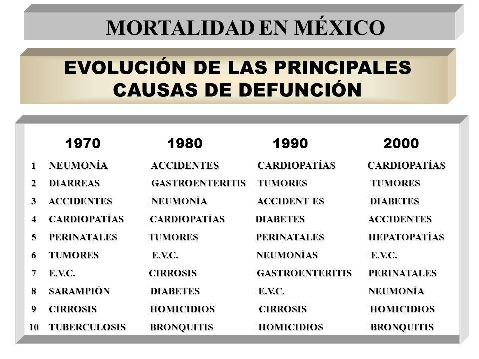 EVOLUCIÓN DE LAS PRINCIPALES CAUSAS DE DEFUNCIÓN