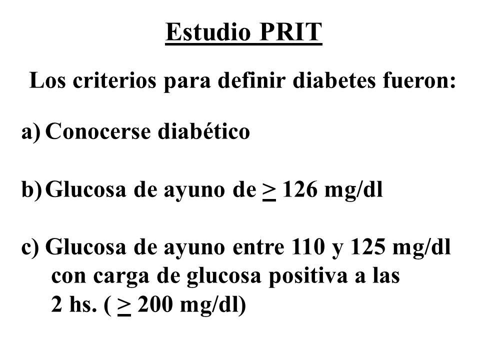Estudio PRIT Los criterios para definir diabetes fueron: