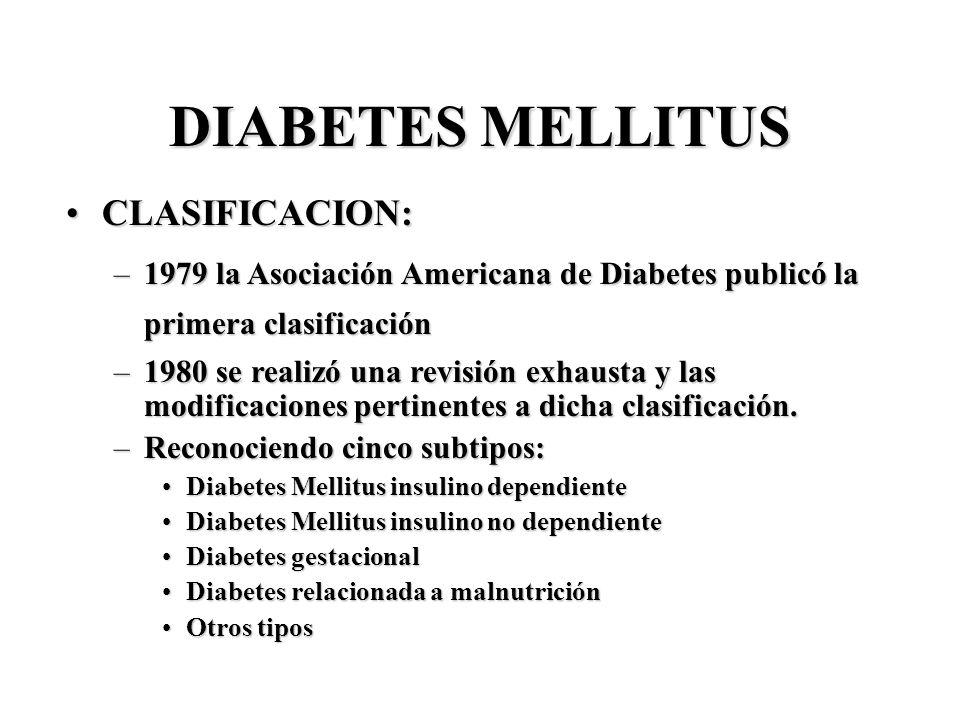 DIABETES MELLITUS CLASIFICACION: