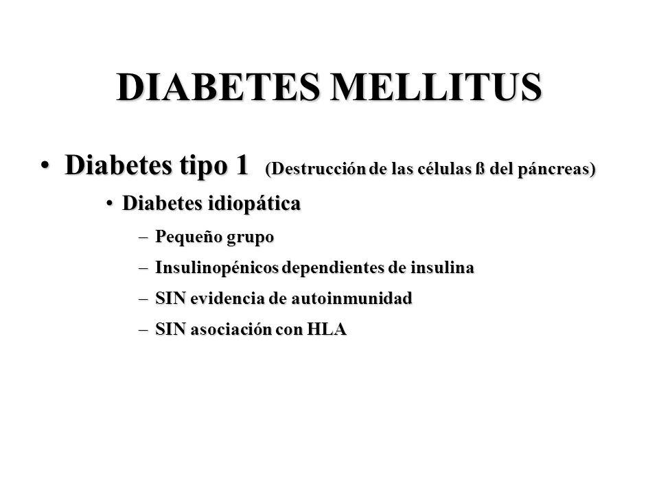 DIABETES MELLITUS Diabetes tipo 1 (Destrucción de las células ß del páncreas) Diabetes idiopática.