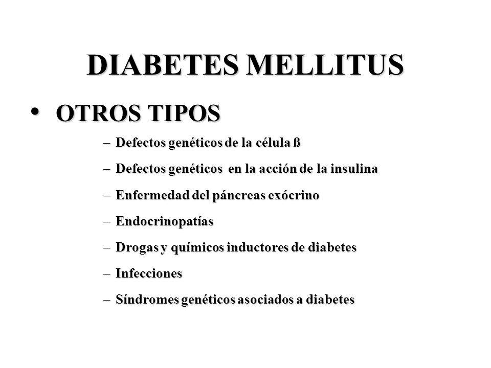 DIABETES MELLITUS OTROS TIPOS Defectos genéticos de la célula ß