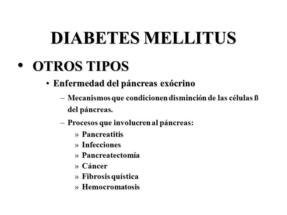 DIABETES MELLITUS OTROS TIPOS Enfermedad del páncreas exócrino