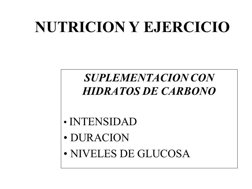 SUPLEMENTACION CON HIDRATOS DE CARBONO