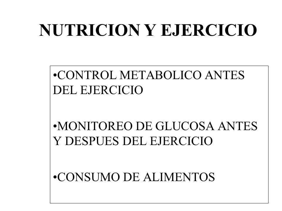NUTRICION Y EJERCICIO CONTROL METABOLICO ANTES DEL EJERCICIO