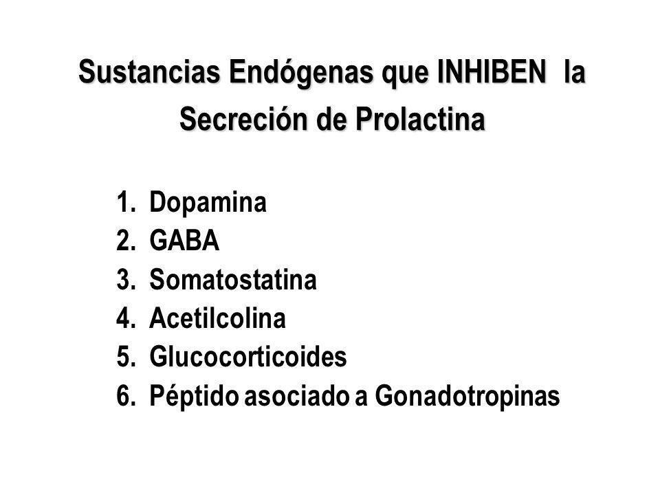 Sustancias Endógenas que INHIBEN la Secreción de Prolactina