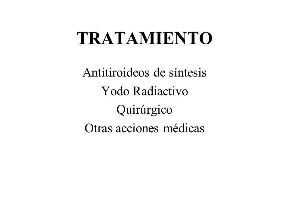 TRATAMIENTO Antitiroideos de síntesis Yodo Radiactivo Quirúrgico
