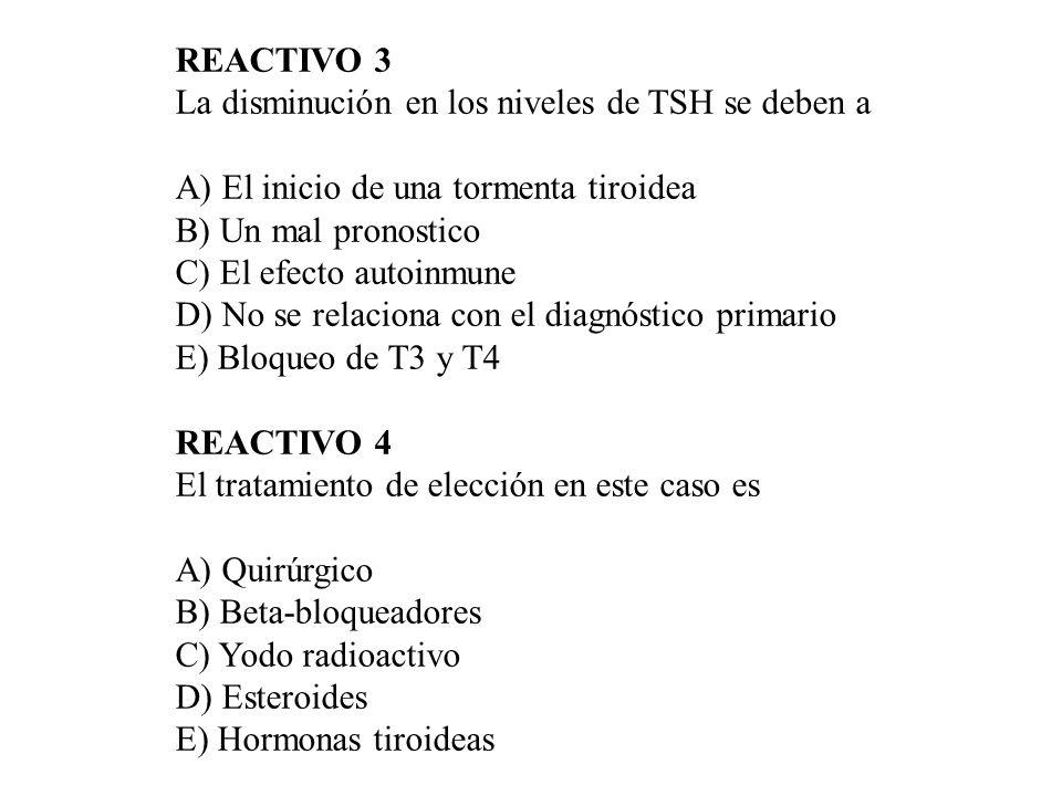 REACTIVO 3La disminución en los niveles de TSH se deben a. A) El inicio de una tormenta tiroidea. B) Un mal pronostico.