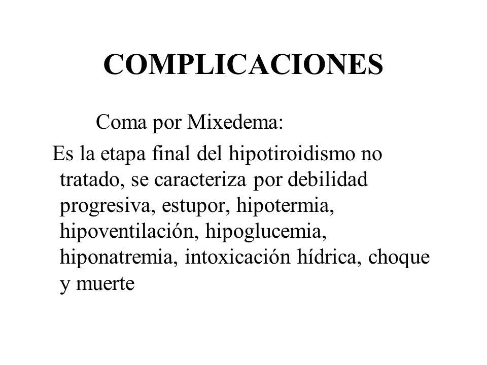 COMPLICACIONES Coma por Mixedema: