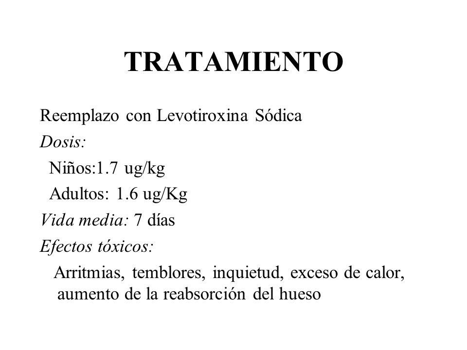 TRATAMIENTO Reemplazo con Levotiroxina Sódica Dosis: Niños:1.7 ug/kg