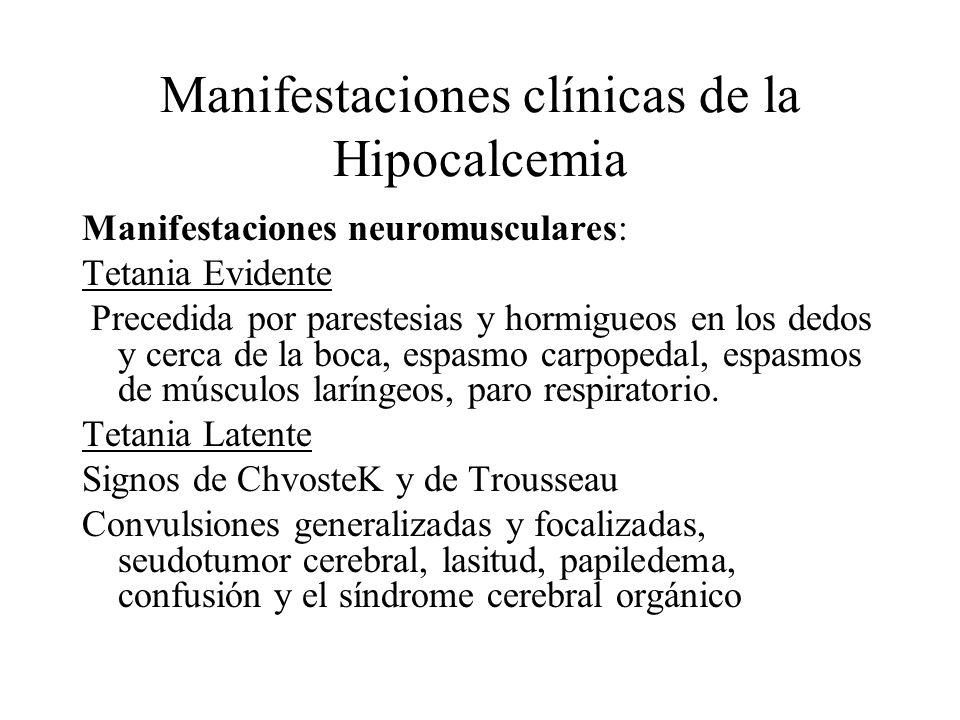Manifestaciones clínicas de la Hipocalcemia