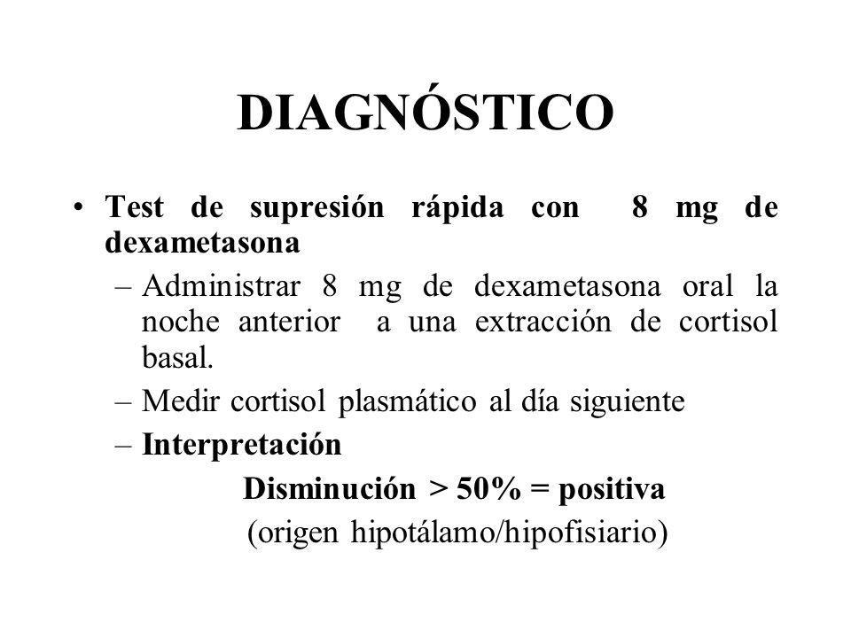 DIAGNÓSTICO Test de supresión rápida con 8 mg de dexametasona