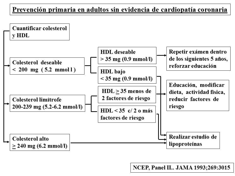 Prevención primaria en adultos sin evidencia de cardiopatía coronaria