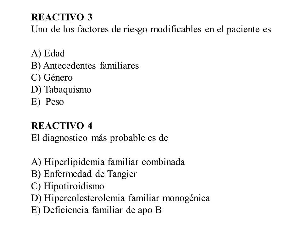 REACTIVO 3 Uno de los factores de riesgo modificables en el paciente es. A) Edad. B) Antecedentes familiares.