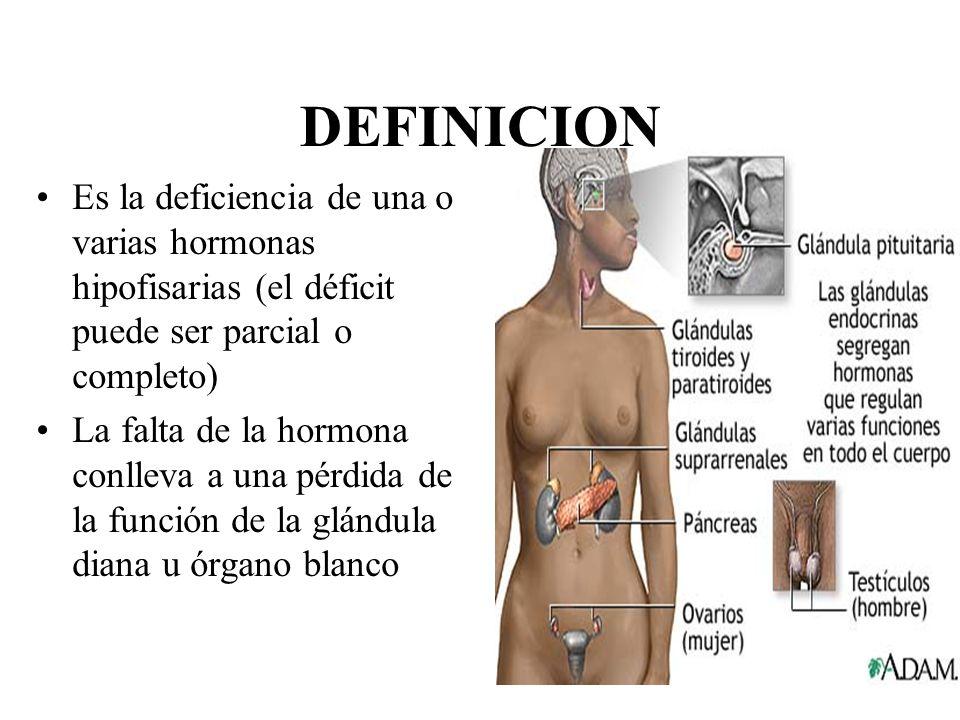 DEFINICION Es la deficiencia de una o varias hormonas hipofisarias (el déficit puede ser parcial o completo)