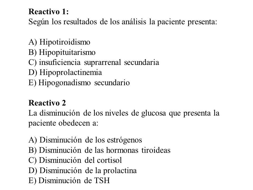 Reactivo 1: Según los resultados de los análisis la paciente presenta: A) Hipotiroidismo. B) Hipopituitarismo.