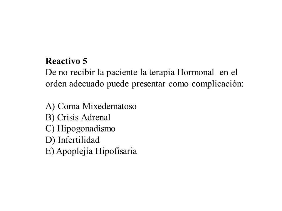Reactivo 5 De no recibir la paciente la terapia Hormonal en el. orden adecuado puede presentar como complicación: