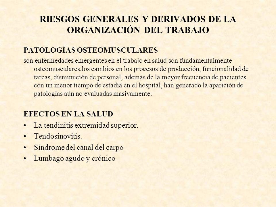 RIESGOS GENERALES Y DERIVADOS DE LA ORGANIZACIÓN DEL TRABAJO