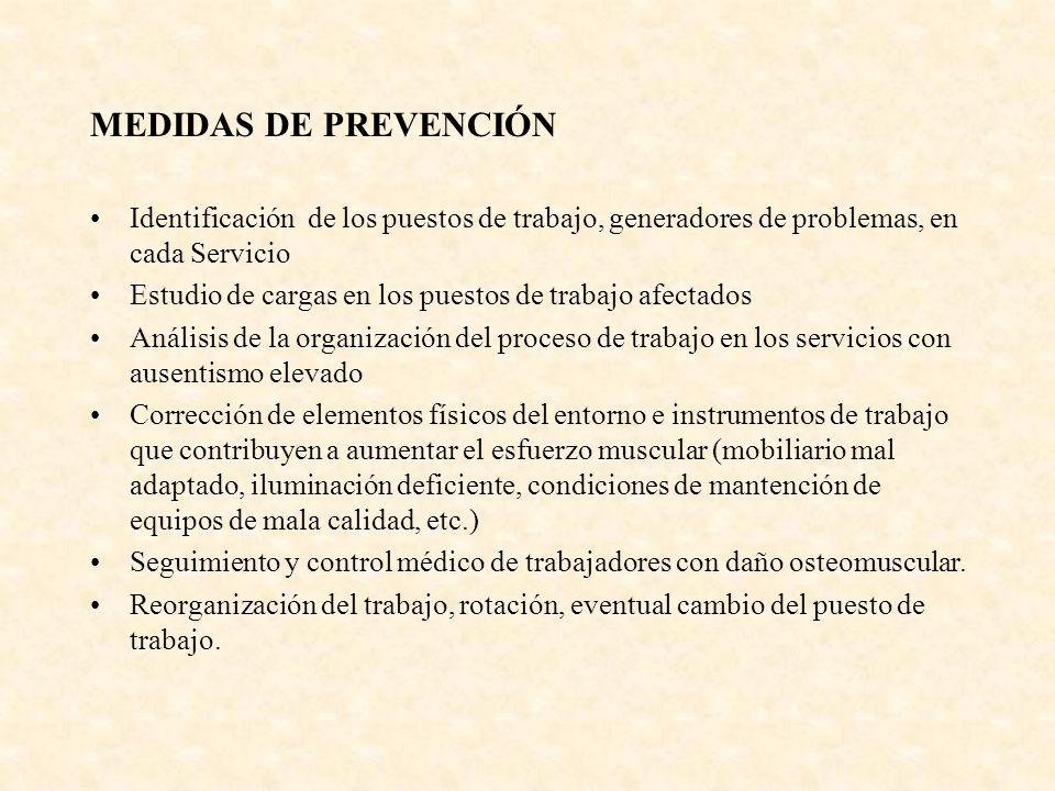MEDIDAS DE PREVENCIÓN Identificación de los puestos de trabajo, generadores de problemas, en cada Servicio.