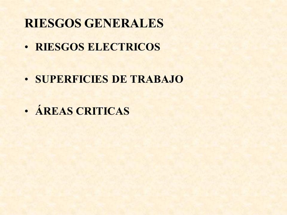 RIESGOS GENERALES RIESGOS ELECTRICOS SUPERFICIES DE TRABAJO
