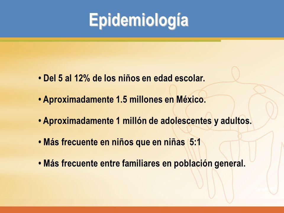 Epidemiología • Del 5 al 12% de los niños en edad escolar.